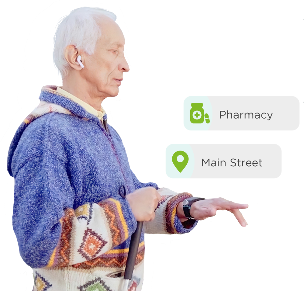 Senior man looking for pharmacy and Main street